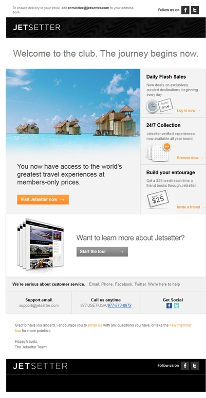 Jetsetter email special offers