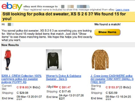 ebay personalization email