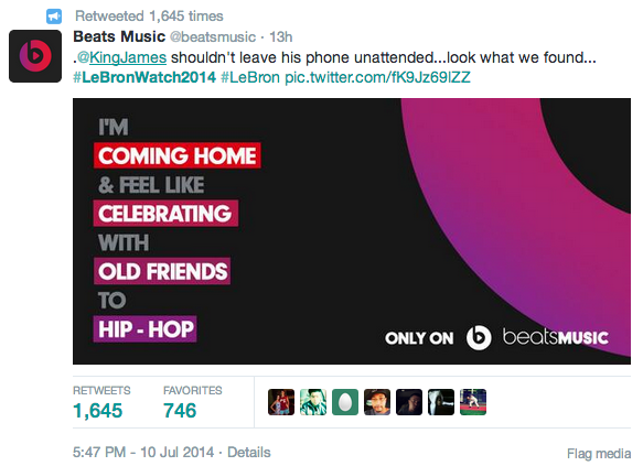Beats real time marketing