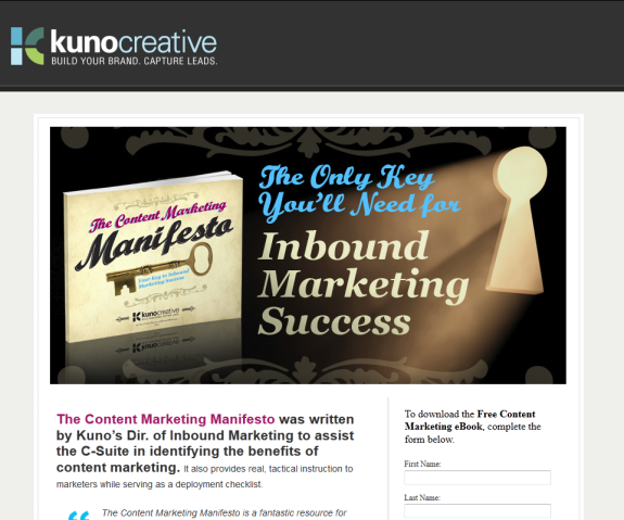 Content Marketing Landing Page without Social Media Sharing Buttons