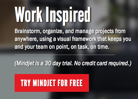 a cta with value proposition from mindjet