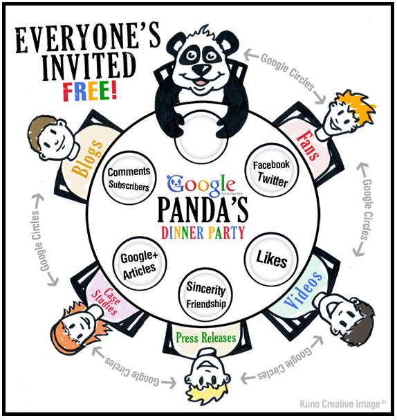 Google Panda's Dinner Party - Cartoon