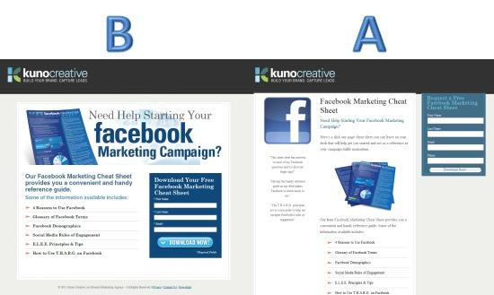 Facebook Landing Page Testing