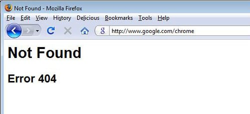 google error 404 not found