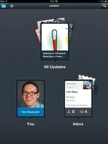 LinkedIn iPad App Puts Content on Top