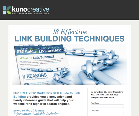 Link Building Landing Page without Social Media Sharing Buttons