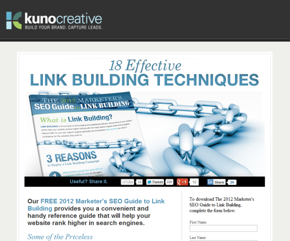 Link Building Landing Page with Social Media Sharing Buttons