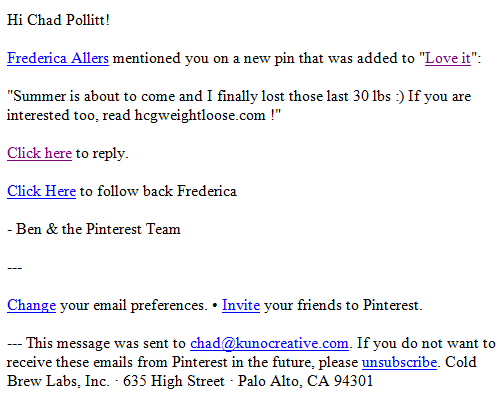 Pinterest Spam Email