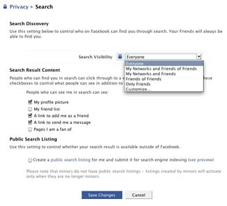Facebook Privacy Search Settings