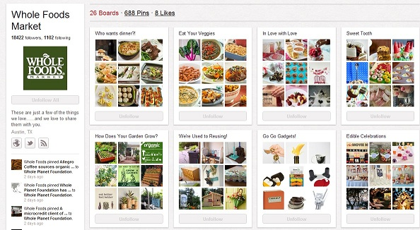 Whole Foods B2C Marketing on Pinterest