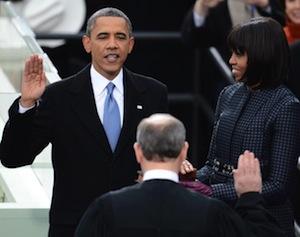 president barack obama takes oath office