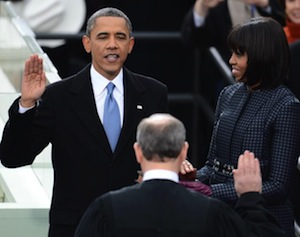 president barack obama takes oath office