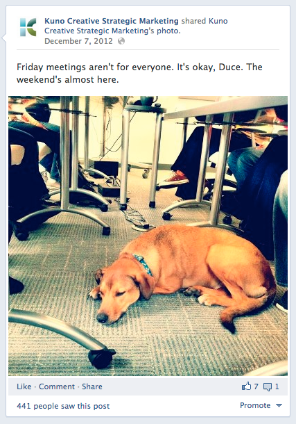 duce friday facebook post