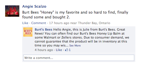 burts bees response