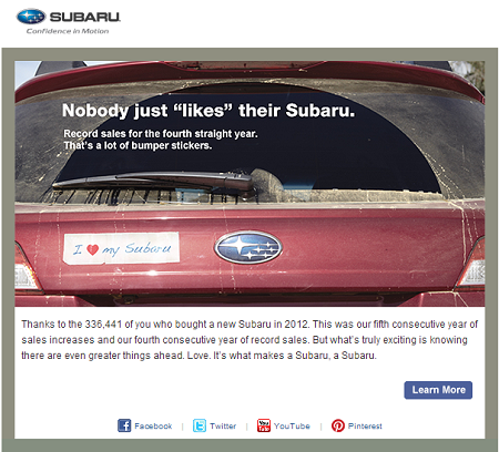 subaru thank you email