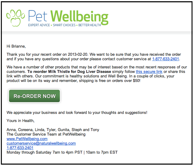 Pet wellbing email