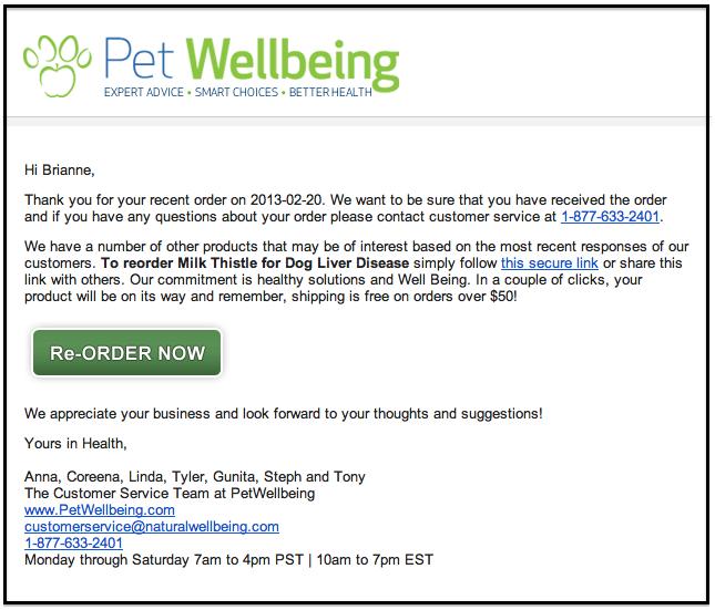 Pet wellbing email