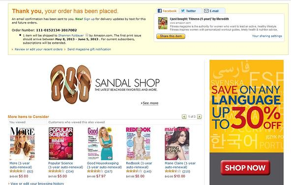 Amazon Thank You Page