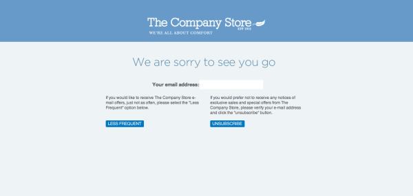 Unsubscribe Screenshot The Company Store resized 600