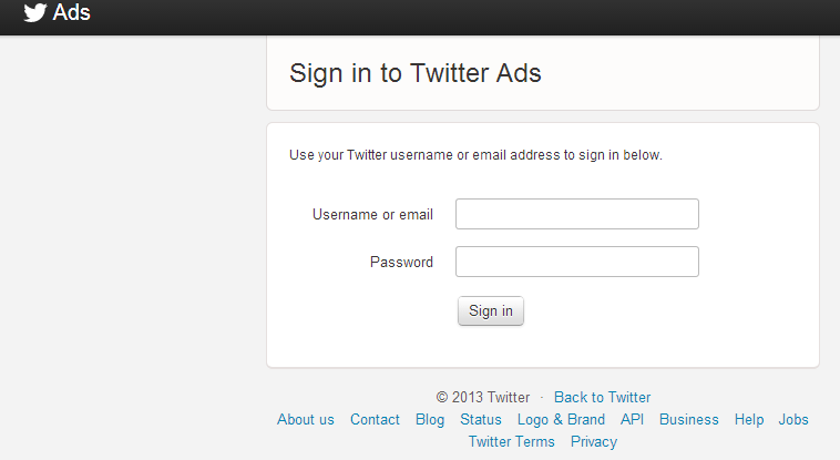 sign In twitter ads