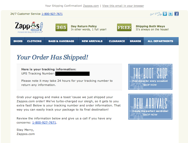 zappos your order has shipped