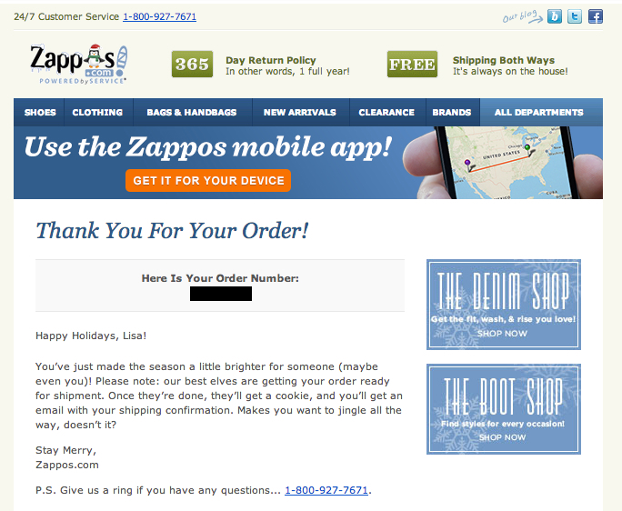 zappos thank you for your order