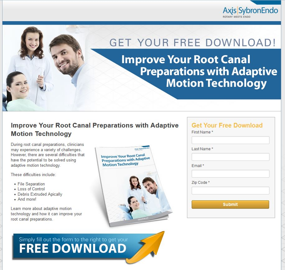landing page for the top funnel conversion offer