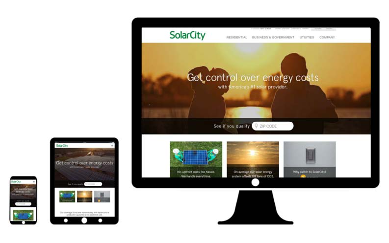 solar city desktop web design