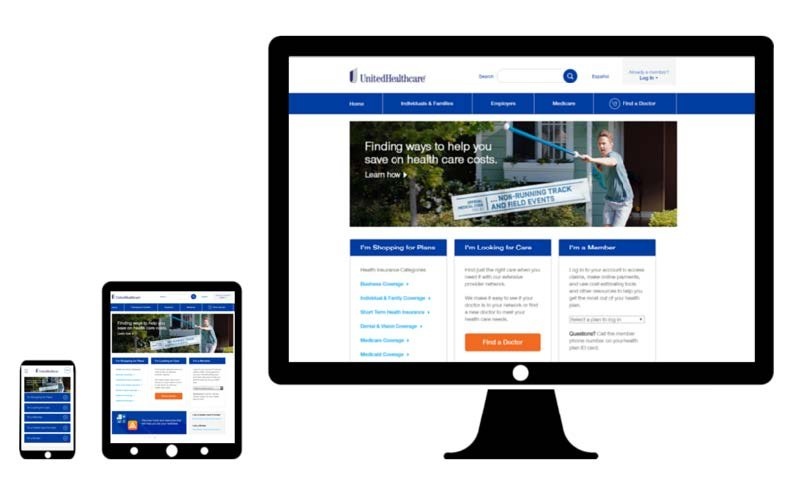 united healthcare desktop web design