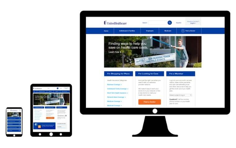 united healthcare desktop web design
