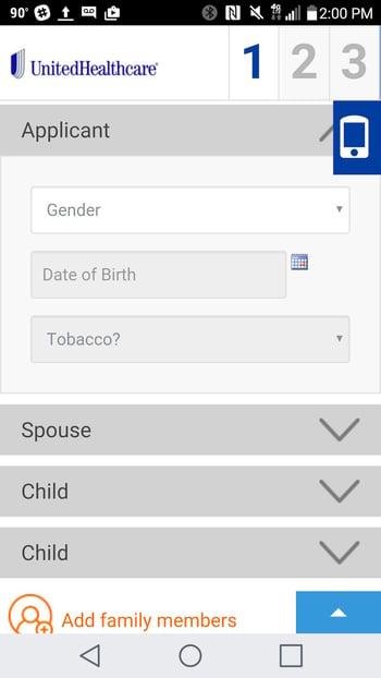 united healthcare web design mobile