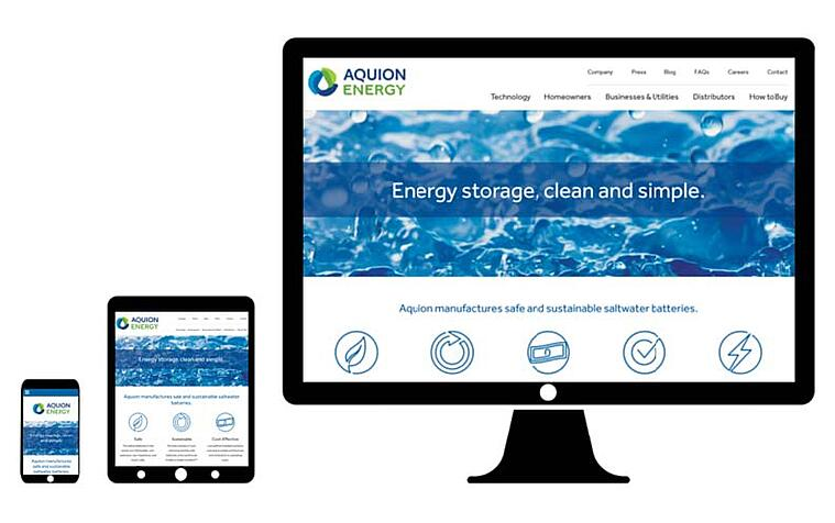 aquion energy desktop web design