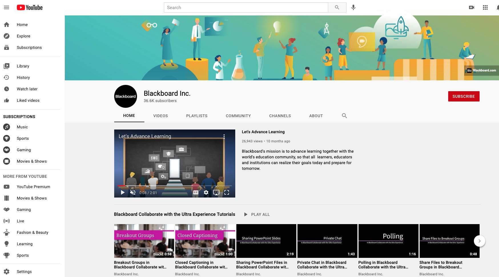 Blackboard on YouTube