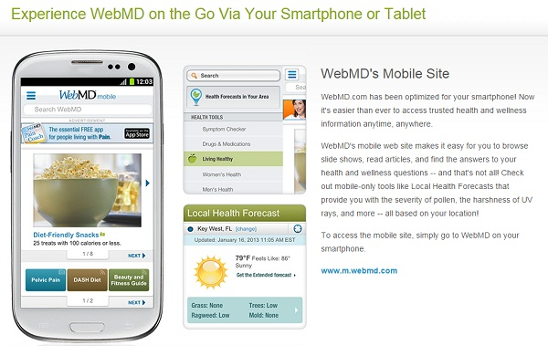 experience webmd smartphone tablet