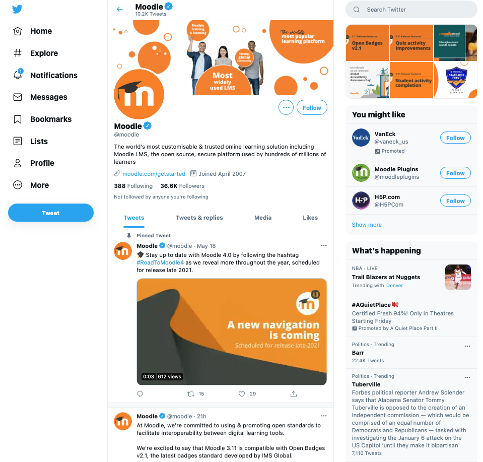 Moodle on Twitter