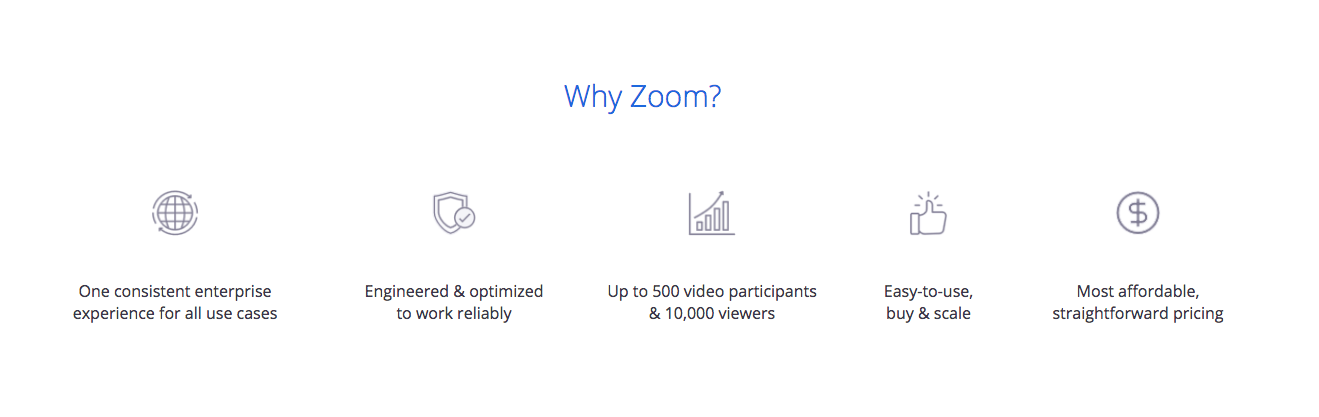 """The """"Why Zoom"""" value proposition"""