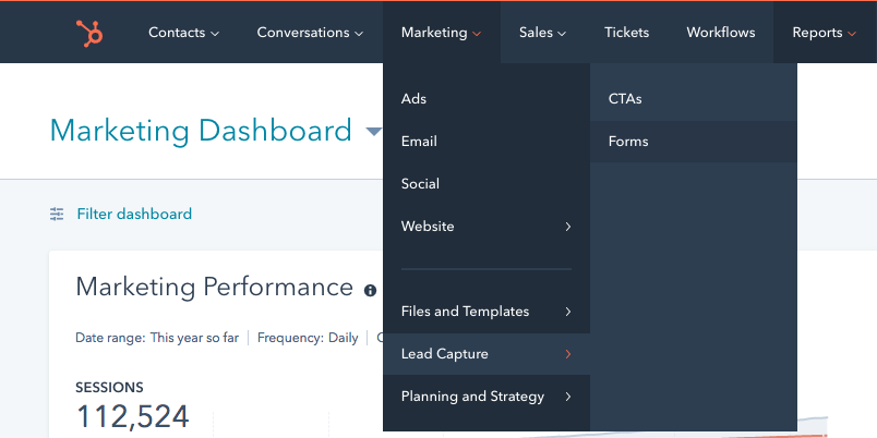 Create a form in Hubspot's CRM to begin progressive profiling process