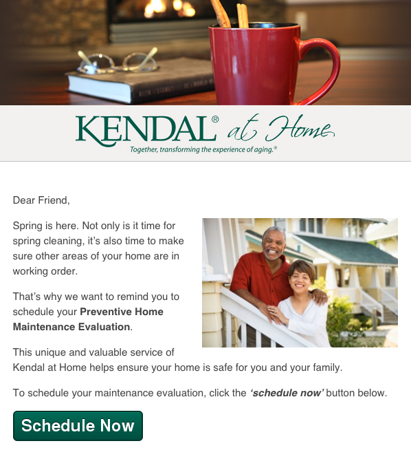 Kendal at Home Healthcare Email Marketing Example