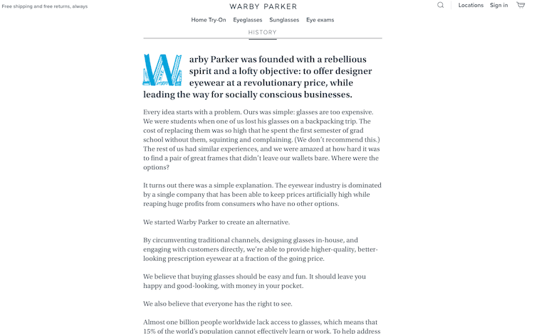 Warby Parker-brand-Storytelling