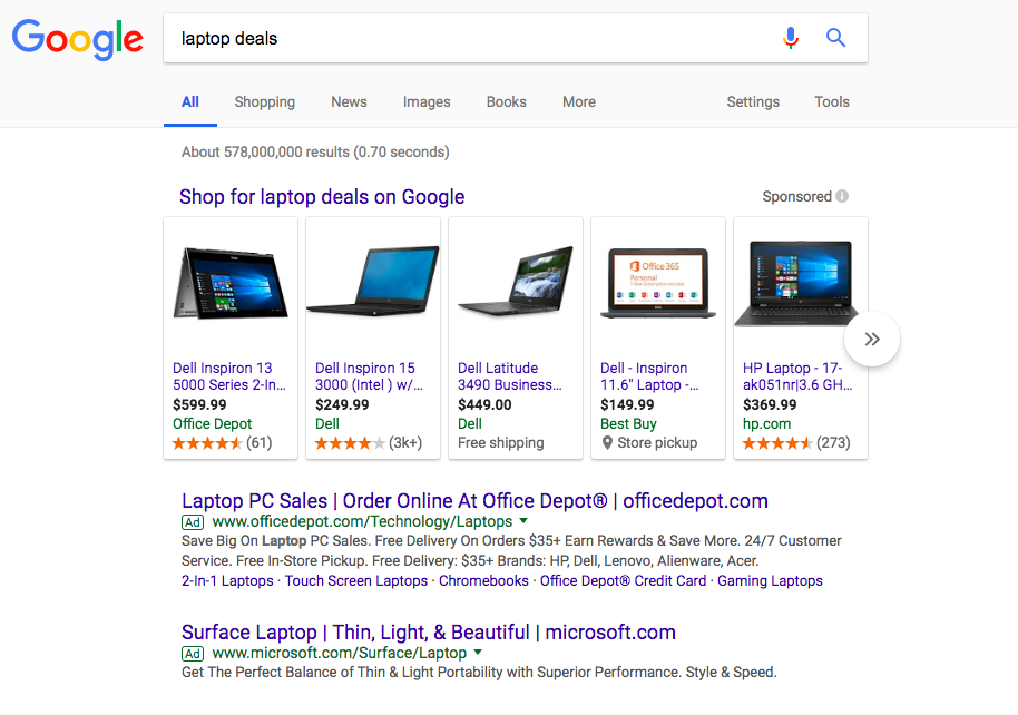 Google PPC example searching for laptop deals