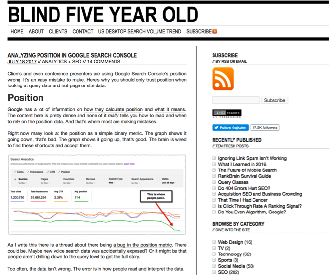 blind five year old blog