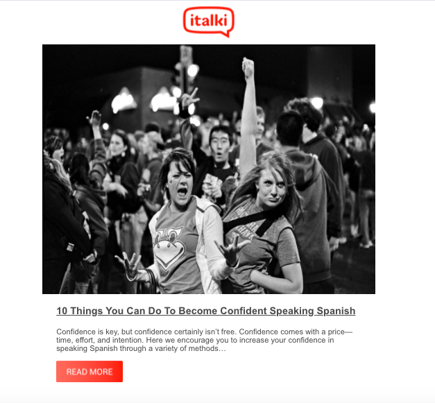 iTalki email image