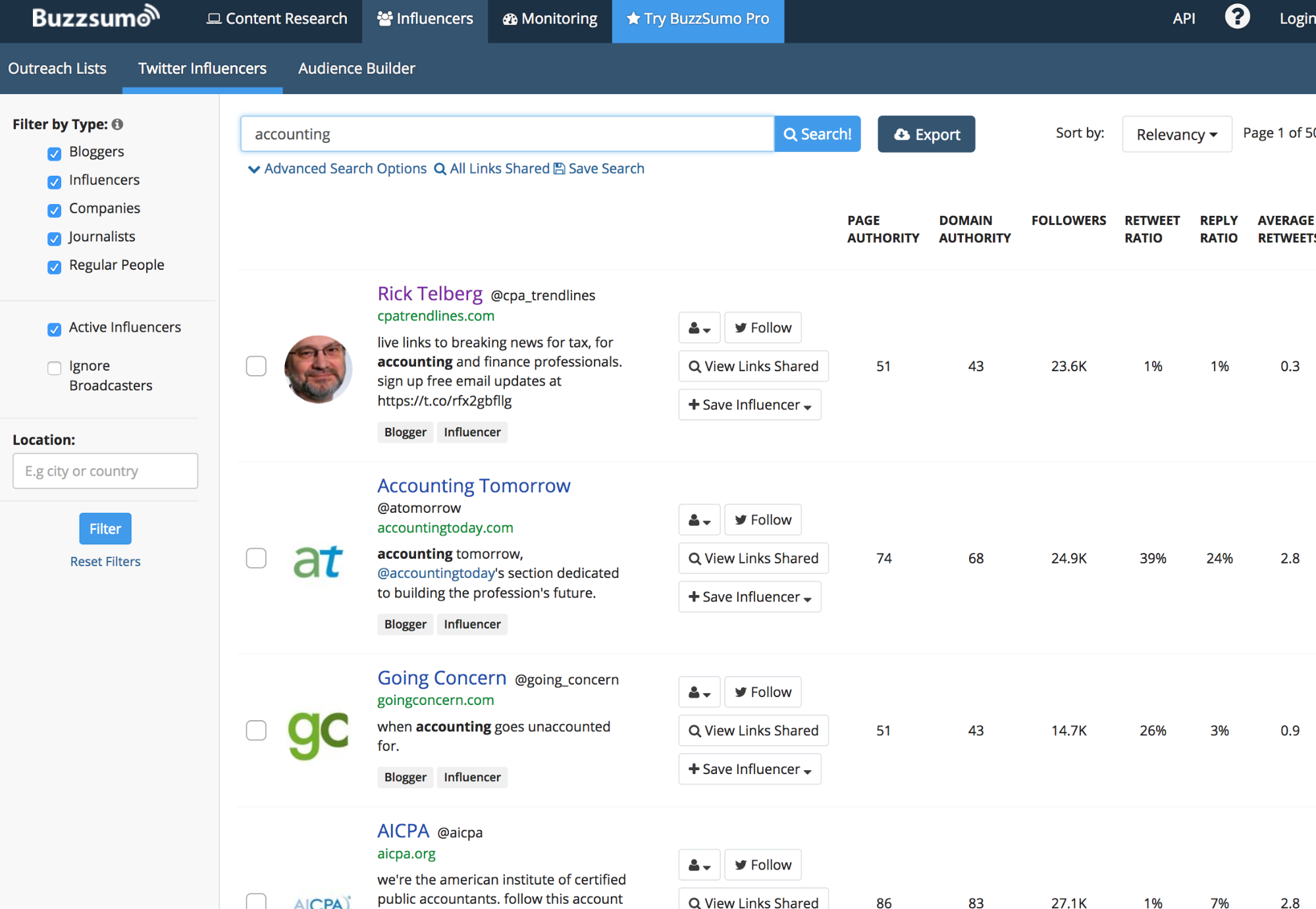 Searching for Influencers by Keyword in BuzzSumo