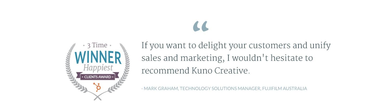 HubSpot Kuno Creative 3 Time Winner Happiest Clients Award