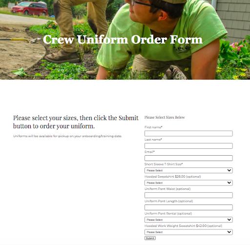uniform-order-form-hubspot-for-hr