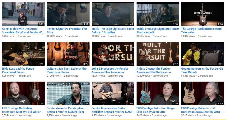 Fender video marketing